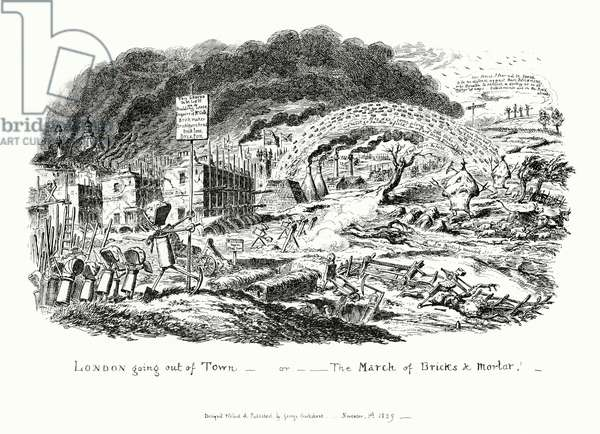 London Going Out of Town, or the March of Bricks and Mortar (engraving)