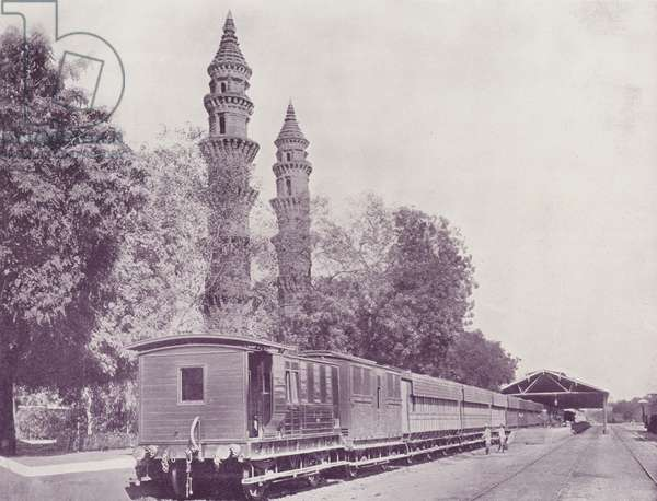 Railway Station and Minarettes, Ahmedabad (b/w photo)