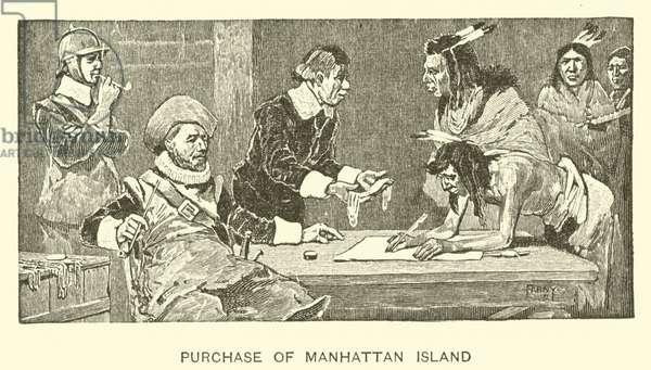 Purchase of Manhattan Island (litho)