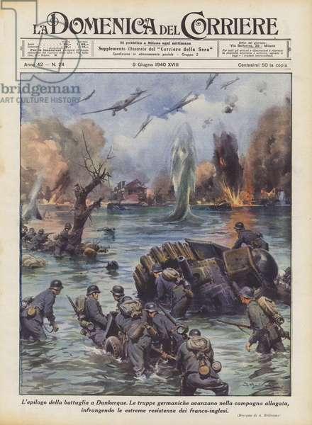 L'epilogo della battaglia a Dunkerque (colour litho)