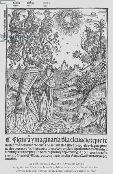Spanish philosopher and Franciscan tertiary Ramon Llull in contemplation, directing all the faculties of his soul to God (litho)