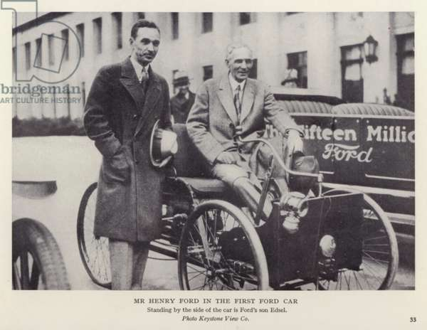 Mr Henry Ford in the first Ford car (b/w photo)