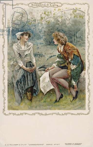 Rosalind and Celia, scene from Shakespeare's As You Like It (chromolitho)