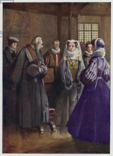 Presbyterian reformer John Knox meeting with Mary, Queen of Scots, 1560s (colour litho)