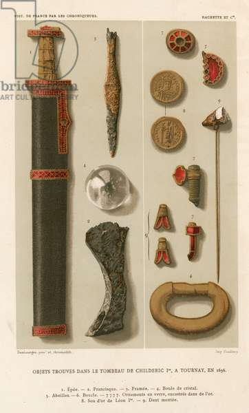Objects found in the tomb of Childeric I at Tournay  (chromolitho) (see also 161328, 172230 and 694817)