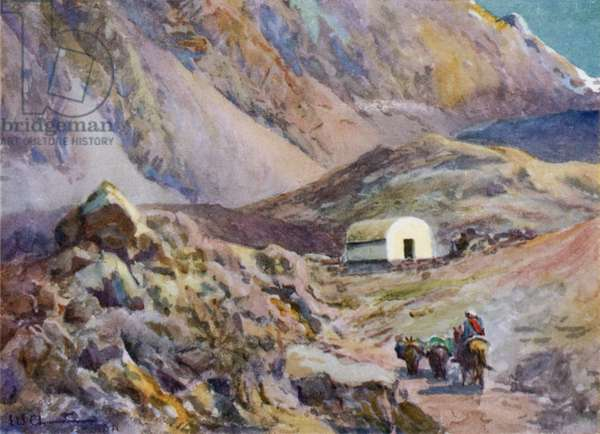 Old refuge hut in the Andes (colour litho)