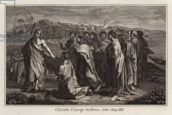 Raphael cartoon: Christ's Charge to Peter, John, Chap XXI (engraving)