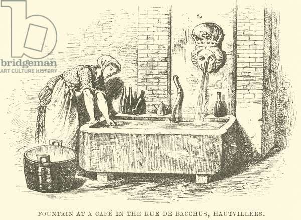 Fountain at a Cafe in the Rue de Bacchus, Hautvillers (engraving)