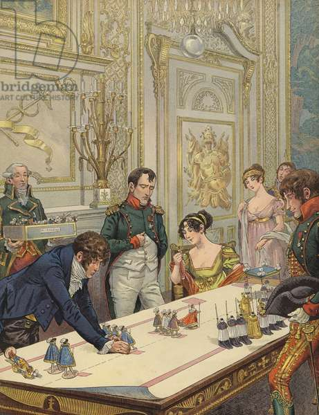 Napoleon and Josephine preparing for their coronation (colour litho)