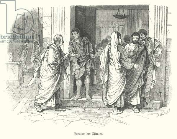 A swarm of clients outside a business in ancient Rome (engraving)