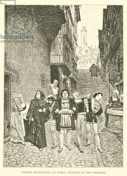 Tavern Roysterers at Early Morning in the Touraine (engraving)