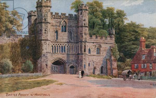 Battle Abbey near Hastings (colour litho)