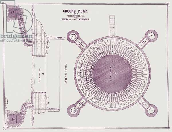 Ground Plan of a Tower of Silence, View of the Interior (b/w photo)