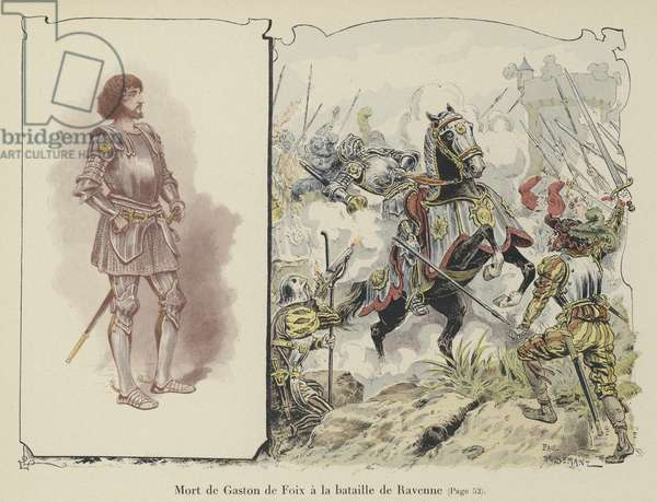 Death of Gaston de Foix, Duke of Nemours, at the Battle of Ravenna, Italy, 1512 (colour litho)