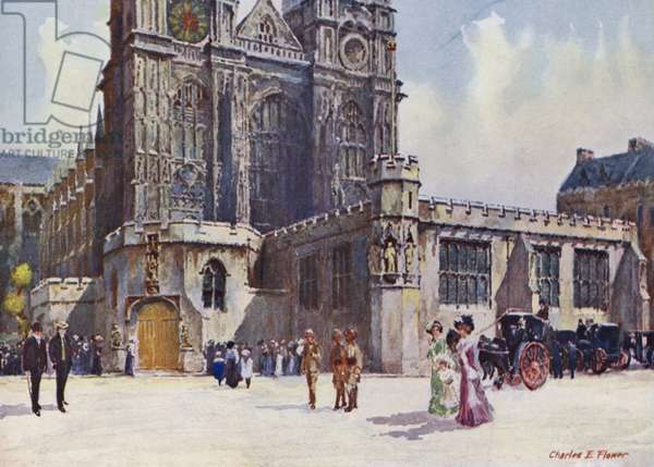 Westminster Abbey, where King Edward VII and Queen Alexandra alighted (colour litho)