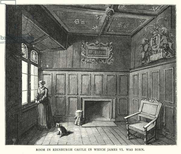 Room in Edinburgh Castle in which James VI was born (engraving)