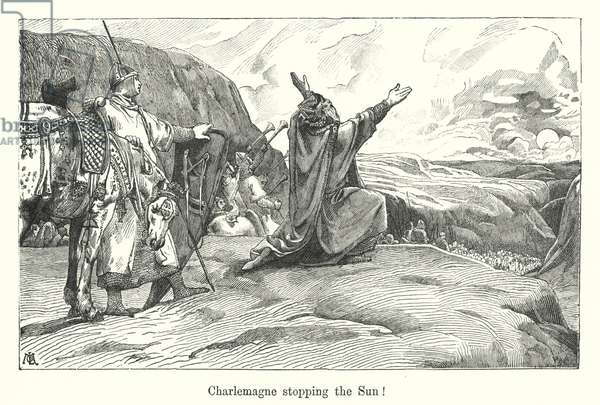 Charlemagne stopping the Sun! (engraving)