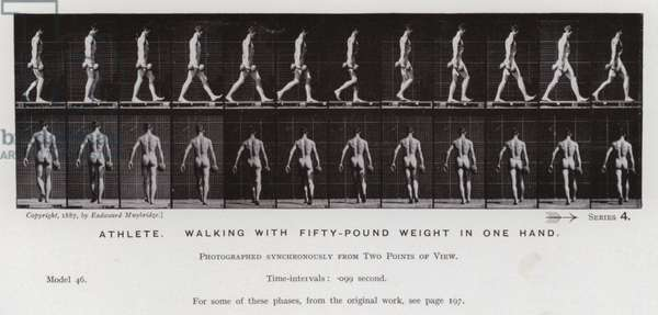 The Human Figure in Motion: Athlete, walking with fifty-pound weight in one hand (b/w photo)
