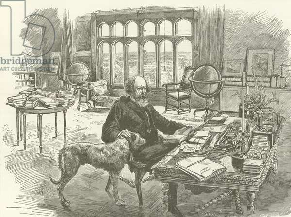 Tennyson in his library (engraving)