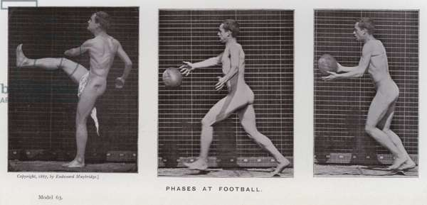 The Human Figure in Motion: Phases at football (b/w photo)