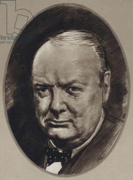 Portraits of Famous Men: Winston Churchill (litho)