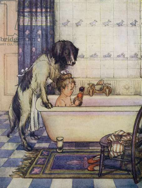 Nana bathing one of the young Darlings (colour litho)
