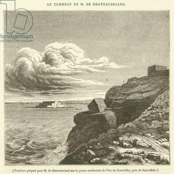 Tombeau prepare pour M de Chateaubriand sur la pointe occidentale de l'ilot du Grand-Bey, pres de Saint-Malo (engraving)