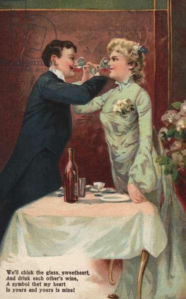 Couple clinking glasses (colour litho)