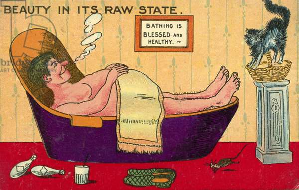 Obesity and laziness: a fat man relaxing in his bathtub (chromolitho)