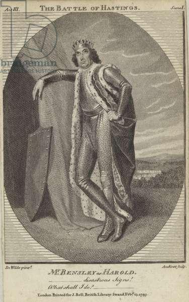 Robert Bensley as Harold in The Battle of Hastings (engraving)