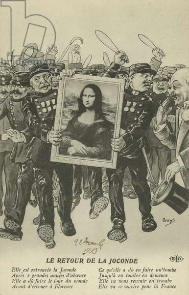Theft of the Mona Lisa: the return of the painting to Paris, 1913 (litho)