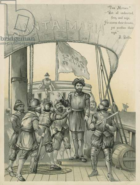 Mutiny aboard Columbus' ship the Santa Maria (chromolitho)