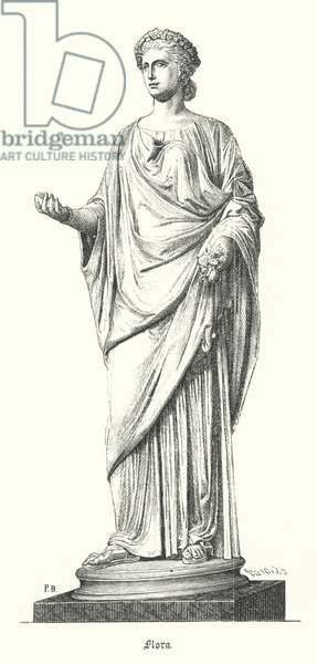 Flora, Roman goddess of flowers and spring (engraving)