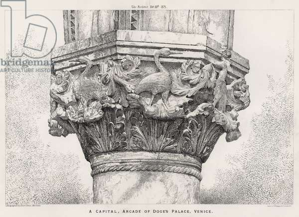 A Capital, Arcade of Doge's Palace, Venice (engraving)