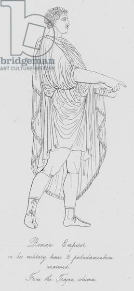 Roman Emperor in his military tunic and paludamentum unarmed, from the Trajan column (engraving)