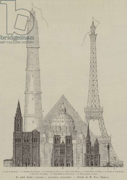 La tour Eiffel comparee a differents monuments (engraving)