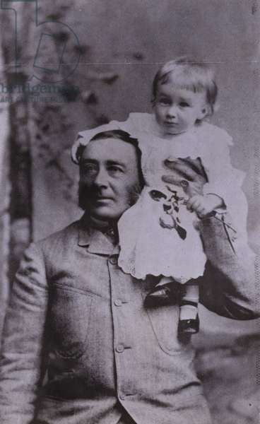 Franklin D Roosevelt, American politician and 32nd President of the United States, as a young child with his father, 1883 (b/w photo)