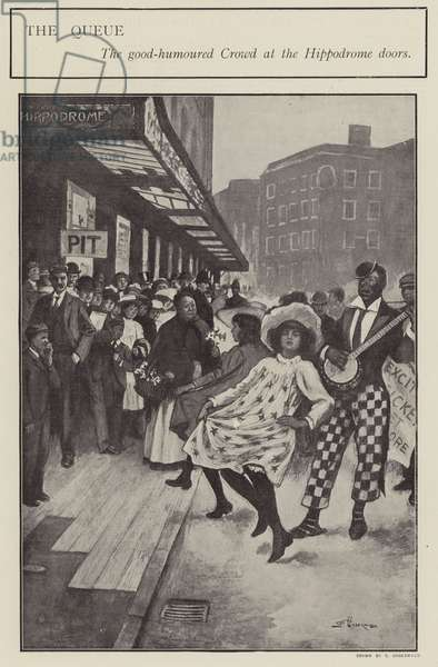 A good-natured queue outside the doors of the London Hippodrome (litho)