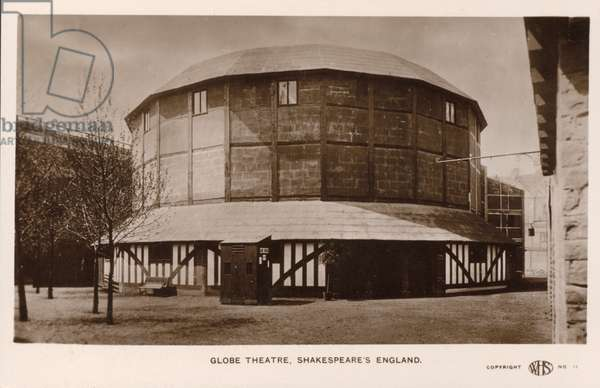 Full-scale recreation of the Globe Theatre designed by Edwin Lutyens for the Shakespeare's England exhibition at Earl's Court in 1912 (b/w photo)