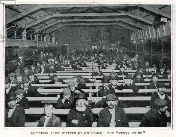 """Salvation Army Shelter (Blackfriars): The """"Penny Sit-Up"""" (b/w photo)"""
