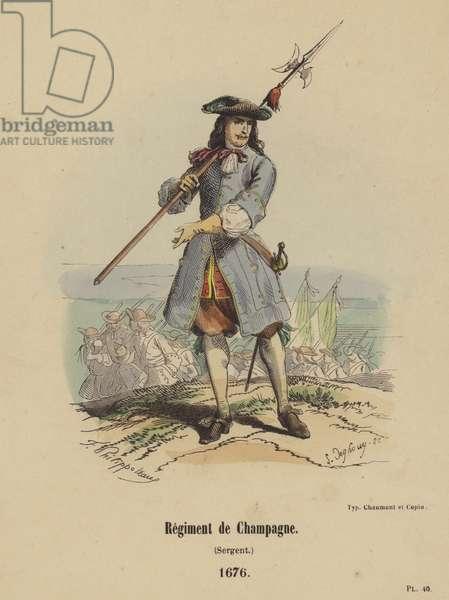 Regiment de Champagne, Sergent, 1676 (coloured engraving)