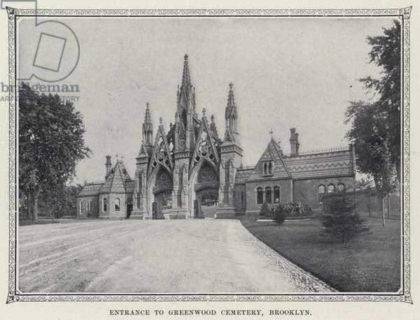 Entrance to Greenwood Cemetery, Brooklyn (b/w photo)