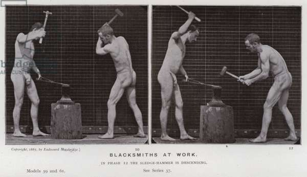The Human Figure in Motion: Blacksmiths at work (b/w photo)