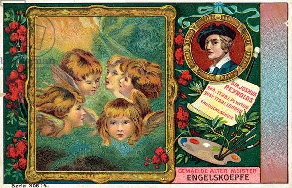 Sir Joshua Reynolds, English artist, and his painting Heads of Angels - Miss Frances Gordon (chromolitho)