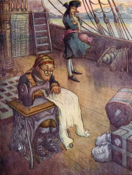 Smee, the Bo'sun at work on his sewing machine (colour litho)
