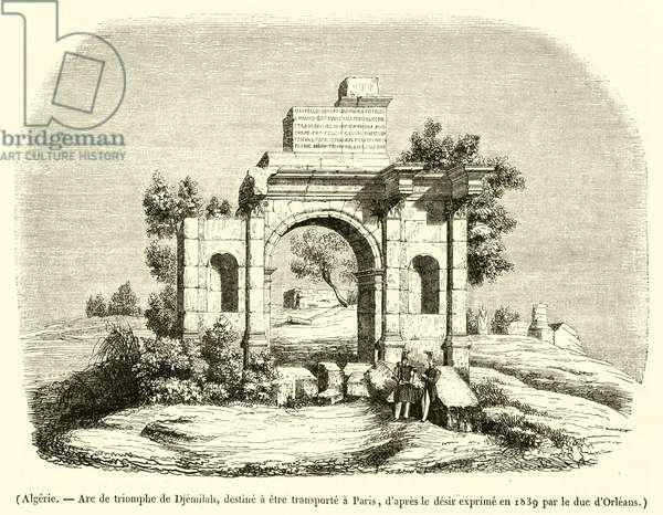 Algerie, Arc de triomphe de Djemilah, destine a etre transporte a Paris (engraving)