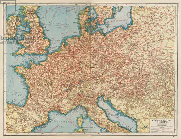 Central and Western Europe, Railways (colour litho)