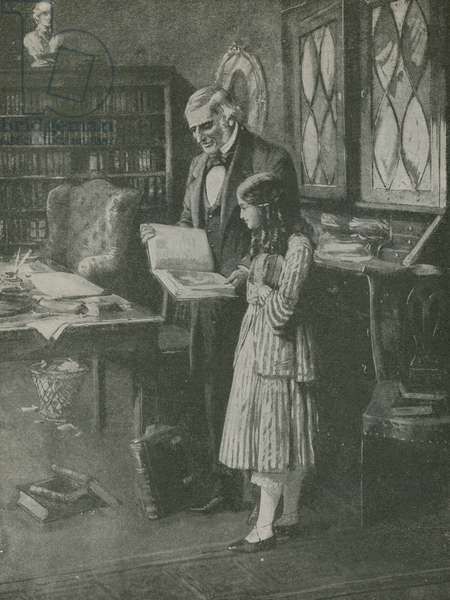 The philosopher and the little girl among the books (litho)