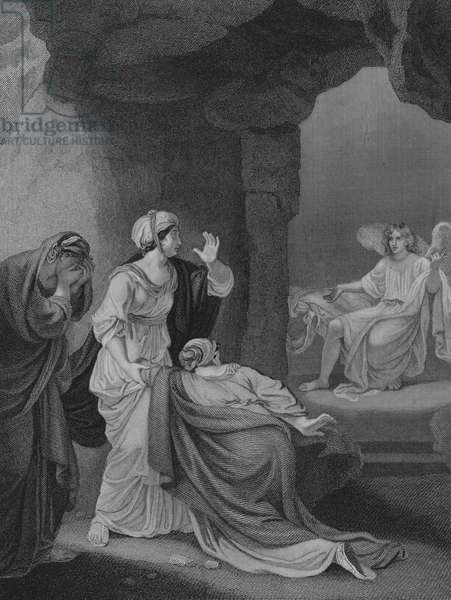 The Maries at the Sepulchre, St Mark 16, Verse 1-9 (engraving)