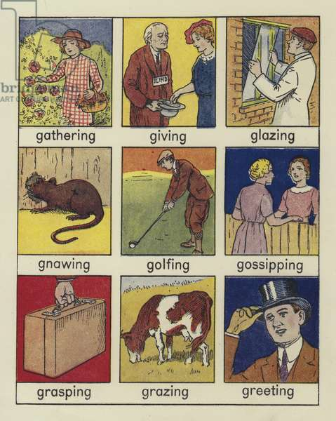 Page from Look and Learn Words of Action Shown in Pictures (colour litho)